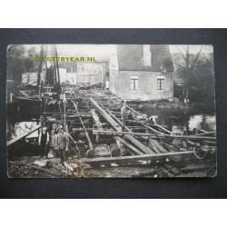 Eindhoven 1930 - fotokaart aanleg brug Dommel