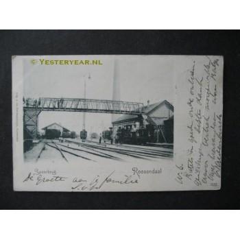 Roosendaal 1901 - spoorbrug - loopbrug - stoomloc.