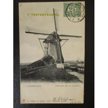 Voorburg 1902 - watermolen bij de Broeksloot