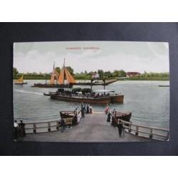 Nijmegen ca. 1905 - gierbrug - 2 schepen