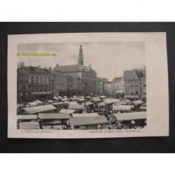 sHertogenbosch 1909 - Groote Markt met stadhuis