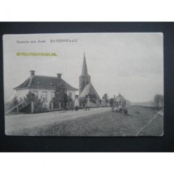 Ravenswaaij ca. 1905 - pastorie met kerk