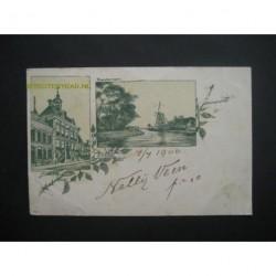 Sneek 1900 - stadhuis - Franekervaart - litho - voorloper