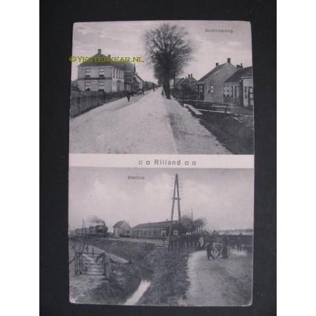 Rilland 1915 - Stationsweg en Station met stoomtrein