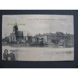 Werkendam 1915 - gezicht op Wiel kerk en school