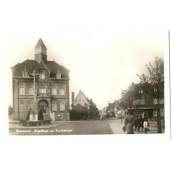Brunssum 1949 - raadhuis en Kerkstraat