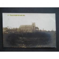 Borculo 1925 - stormschadekerk en boerderij - fotokaart
