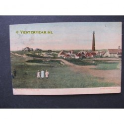 Huisduinen 1905 - gezicht op dorp en vuurtoren