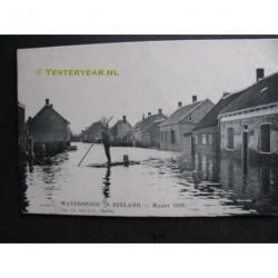 Kloosterzande 1906 - watersnood-man op een vlot
