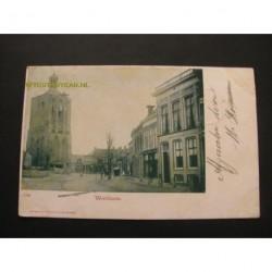 Workum 1904 - straat met toren Herv.Kerk