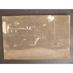 Ubbergen 1929 - botsing auto / motor - fotokaart